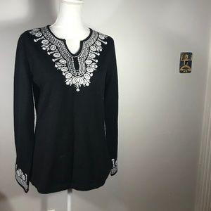 Marisa Christina Embroidered Black Wool Tunic